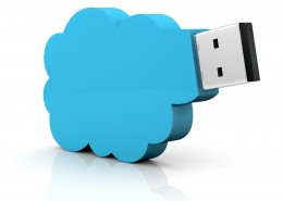 one usb key with a cloud shape, concept of remote data storage (3d render)